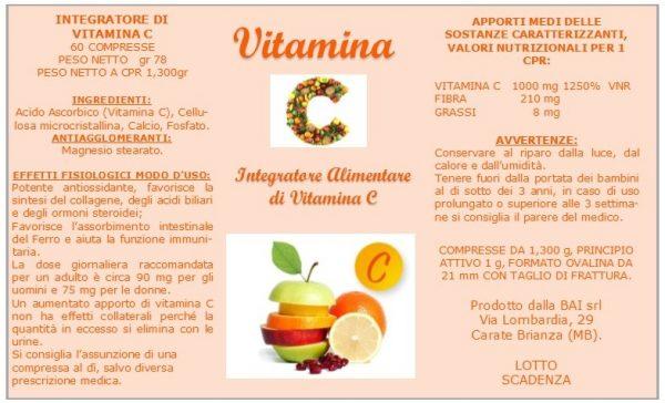 Valori nutrizionali vitamina C